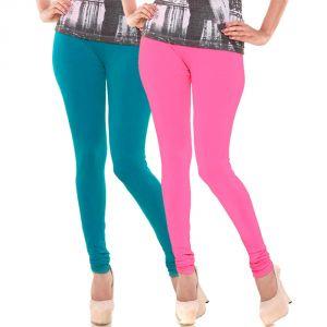 Buy Vivan Creation Stylish Comfortable N Colorful Pair Of Women Cotton Churidaar Leggings (product Code - Dl5comb735) online