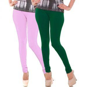Buy Vivan Creation Stylish Comfortable N Colorful Pair Of Women Cotton Churidaar Leggings (product Code - Dl5comb738) online
