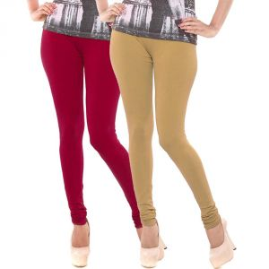 Buy Vivan Creation Stylish Comfortable N Colorful Pair Of Women Cotton Churidaar Leggings (product Code - Dl5comb742) online