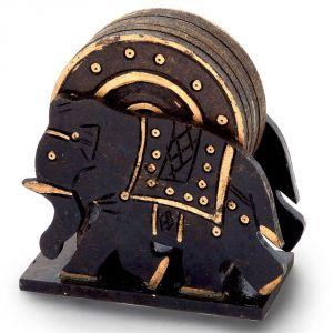 Buy Vivan Creation Elephant Design Wooden Tea Coaster Handicraft -110 online