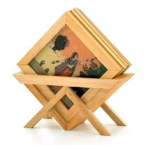 Buy Vivan Creation Precious Gemstone Painting Tea Coaster Set -117 online