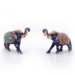 Buy Vivan Creation Enamel Work Pure Brass Elephant Pair Gift -133 online