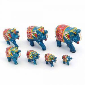 Buy Vivan Creation Handmade Paper Mache Work 7 Piece Elephant Set online