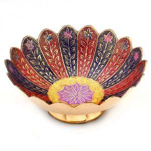 Buy Vivan Creation Pure Brass Minakari Work Fruit Bowl Handicraft 209 online