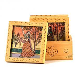 Buy Vivan Creation Unique Gemstone Painted Square Tea Coaster Set 212 online