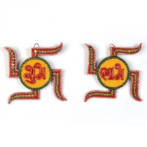 Buy Vivan Creation Unique Kundan Swastik Shubh Labh Door Hanging 254 online
