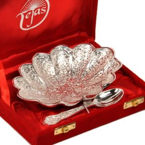 Buy Vivan Creation Silver Polish Oval Shape Brass Bowl With Spoon 268 online