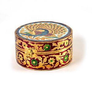 Buy Vivan Creation Meenakari Art White Metal Round Dry fruit Box online