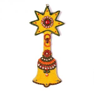 Buy Vivan Creation Wooden Kundan Meenakari Aarty Bell Key Stand online