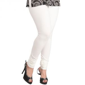 Buy Vivan Creation Women Stylish Sexy White Color Comfortable Cotton Churidaar Leggings online