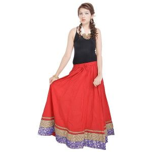 Buy Vivan Creation Rajasthani Red Cotton Skirt Free Size online