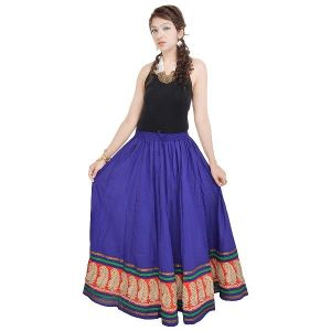 Buy Vivan Creation Rajasthani Blue Cotton Skirt Free Size (product Code - Smskt511) online