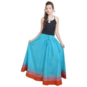 Buy Vivan Creation Fashionable & Ethnic Blue Cotton Long Skirt Free Size (product Code - Smskt515) online