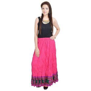 Buy Vivan Creation Shree Mangalam Mart Fashionable & Ethnic Pink Cotton Long Skirt Free Size (product Code - Smskt523) online