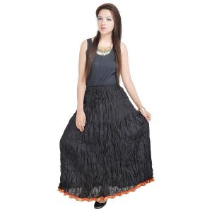 Buy Vivan Creation Rajasthani Beautiful Fashionable & Ethnic Black Cotton Long Skirt Free Size online