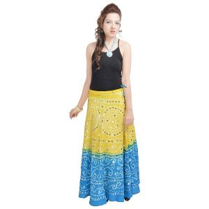Buy Vivan Creation Mirror Work Bandhej Rajasthani Cotton Skirt Free Size (product Code - Smskt532) online