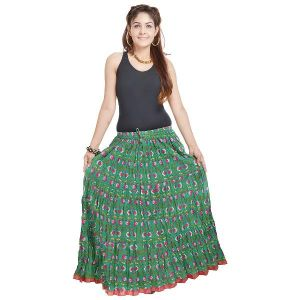 Buy Vivan Creation Jaipuri Multi Color Pure Cotton Skirt Free Size (product Code - Smskt558) online