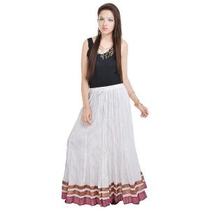 Buy Vivan Creation Rajasthani Exclusive White Design Cotton Full Skirt Free Size online