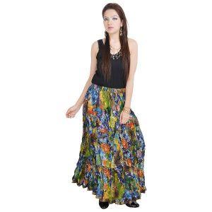 Buy Vivan Creation Multicolor Designer Girls Cotton Full Skirt Free Size (product Code - Smskt570) online
