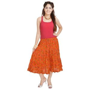 Buy Vivan Creation Rajasthani Ethnic Orange Cotton Short Skirt Free Size (product Code - Smskt583) online