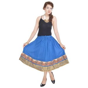 Buy Vivan Creation Rajasthani Ethnic Turquoise Cotton Short Skirt  Free Size online