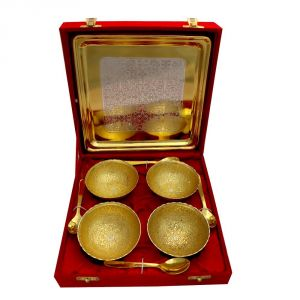 Buy Vivan Creation Round Shape German Silver 4 Bowl and One tray With 4 Spoon Set online