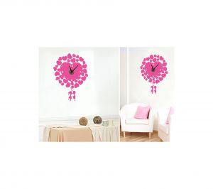 Buy Decals Arts Diy Wall Clock Pink Heart Shape Design Sticker online