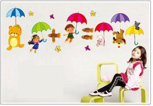 Buy Decals Arts Bear Colourful Umbrella Wall Sticker online