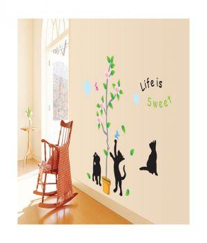 Buy Decals Arts Sweet Black Kitten Kids Wall Sticker online