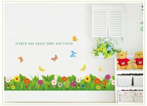 Buy Decals Arts Grass Flowers Butterfly On The Wall Sticker online