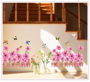 Buy Decals Arts Pink Flower Wall Sticker Broder For Home online