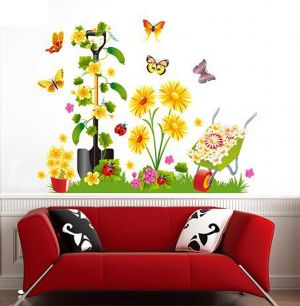 Buy Decals Arts 3d 9010 Cute Butterfly Flower Girl Wall Stickers online