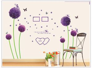 Buy Decals Arts Purple Dandelion Flower Wall Sticker online