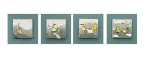 Buy Decals Arts Hand Painted Children Playing In Spring 3d Embossed Painting online