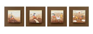 Buy Decals Arts Hand Painted Children Playing In Autumn 3d Embossed Painting online