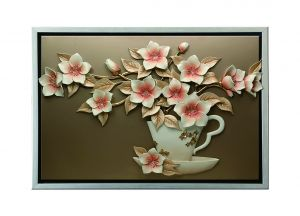 Buy Decals Arts Hand Painted Flowers In A Cup 3d Embossed Painting online