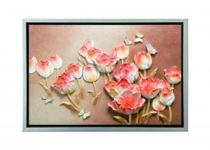 Buy Decals Arts Hand Painted Butterflies On Flowers 3d Embossed Painting online