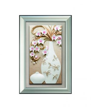 Buy Decals Arts Hand Painted Large Flower Vase With Frame 3d Embossed Painting online