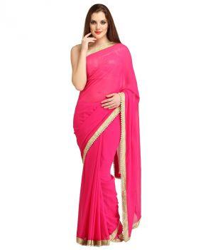Buy Bhuwal Fashion Pink Faux Chiffon Partywear Gota Patti Saree With Blouse PCs Bf109-pink online