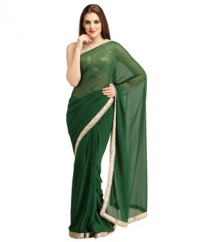 Buy Bhuwal Fashion Dark Green Faux Chiffon Partywear Gota Patti Saree With Blouse Pcs online