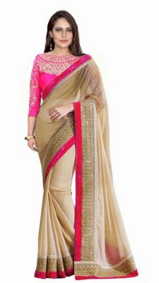 Buy Bhuwal Fashion Beige Faux Georgette Embroidered Saree With Blouse Pcs online