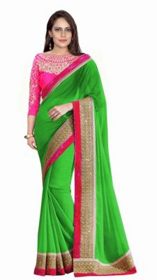 Buy Bhuwal Fashion Green Faux Georgette Embroidered Saree With Blouse Pcs online