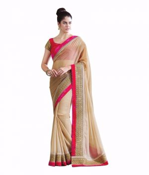 Buy Bhuwal Fashion Beige Faux Chiffon Partywear Saree With Blouse Pcs online