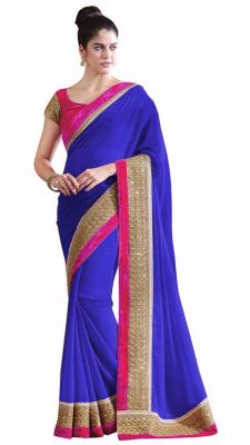 Buy Bhuwal Fashion Blue Faux Chiffon Partywear Saree With Blouse PCs Bf111blue online