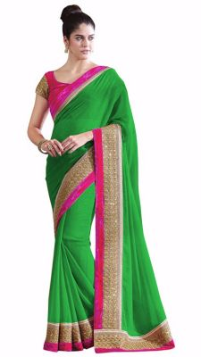 Buy Bhuwal Fashion Green Faux Chiffon Partywear Saree With Blouse Pcs online