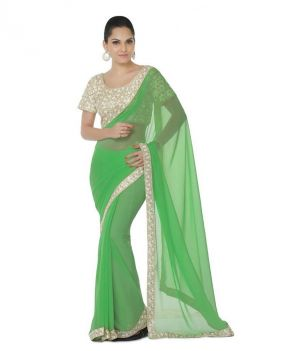 Buy Bhuwal Fashion Green Faux Chiffon Embroidered Saree With Blouse PCs Bf112green online