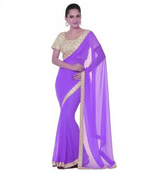 Buy Bhuwal Fashion Purple Faux Chiffon Embroidered Saree With Blouse PCs Bf112purple online