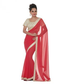 Buy Bhuwal Fashion Red Faux Chiffon Embroidered Saree With Blouse PCs Bf112red online