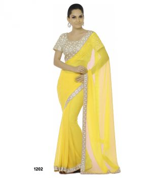 Buy Bhuwal Fashion Yellow Faux Chiffon Embroidered Saree With Blouse Pcs online