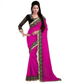 Buy Bhuwal Fashion Pink Faux Chiffon Embroidered Saree With Blouse Pcs online